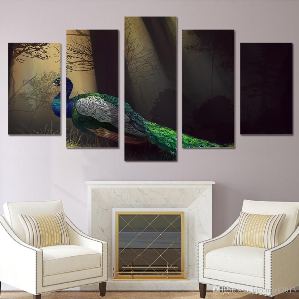 Framed HD Printed Peacock art Painting on canvas room decoration print poster picture canvas /ny-1619