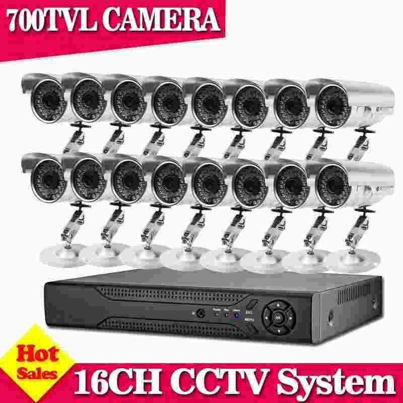 Home CCTV 700TVL outdoor Waterproof Camera 16ch HDMI 1080P DVR recorder Kit 16CH 960H security video surveillance dvr system