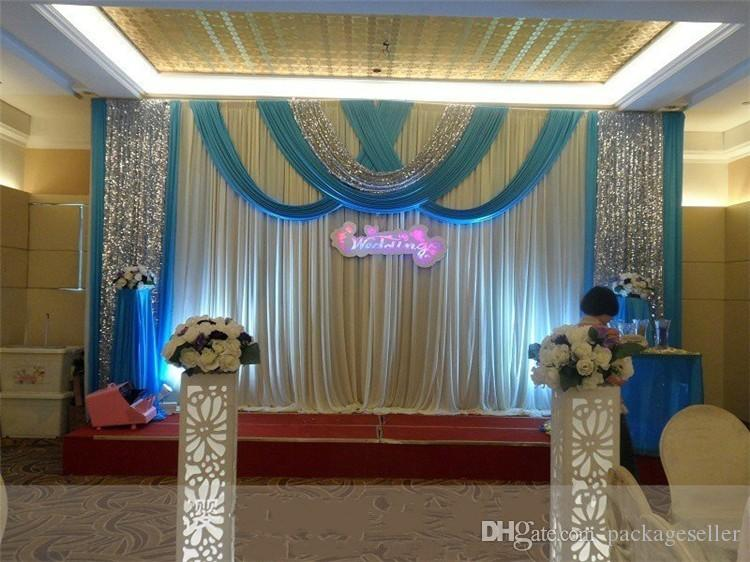 20ft 10ft luxury ice silk wedding backdrop stage curtains with swags rh dhgate com