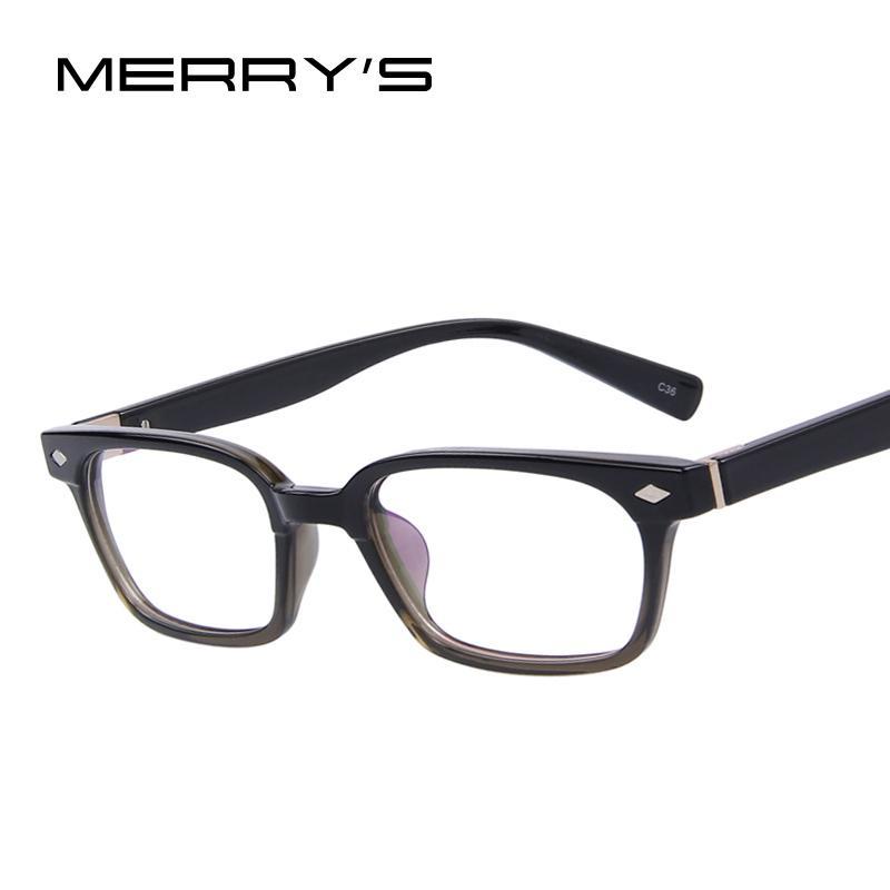 488041d5407 Wholesale- MERRY S Fashion Men Women Rivet Eyeglasses Frames Unisex ...