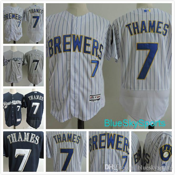 9241ced85 ... 2017 7 Eric Thames Jersey Milwaukee Brewers 3 Orlando Arcia 5 Jonathan  Villar Flex Base Baseball ...