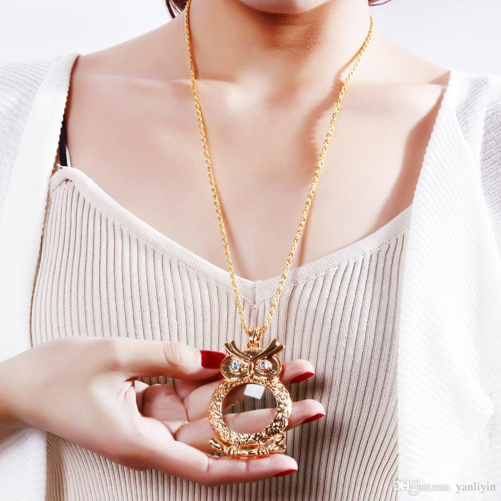 جديد العدسة المكبرة قلادة الأزياء النسائية البومة قلادة من الذهب والروديوم مع قلادة المكبر الكريستال