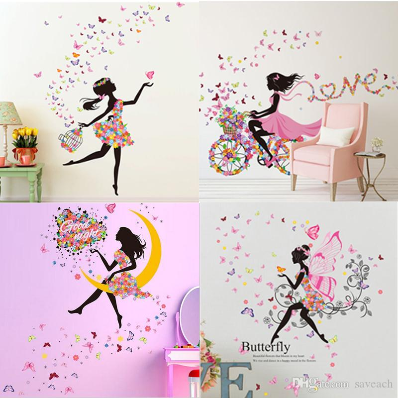 creative girl butterfly flowers wall stickers for livingroom home