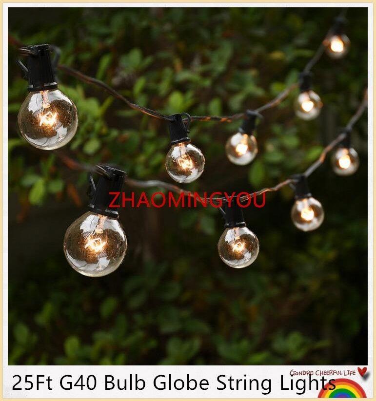 YON 25Ft G40 Bulb Globe String Lights With Clear Bulbs Backyard Patio Lights,  Vintage Bulbs