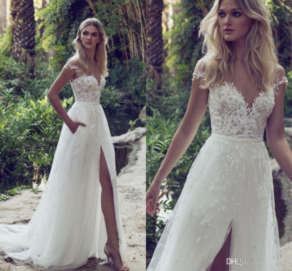 Limor Rosen 2019 A-Line Lace Bröllopsklänningar Illusion Bodice Jewel Court Tåg Vintage Garden Beach Boho Bröllopsfest Brudklänningar