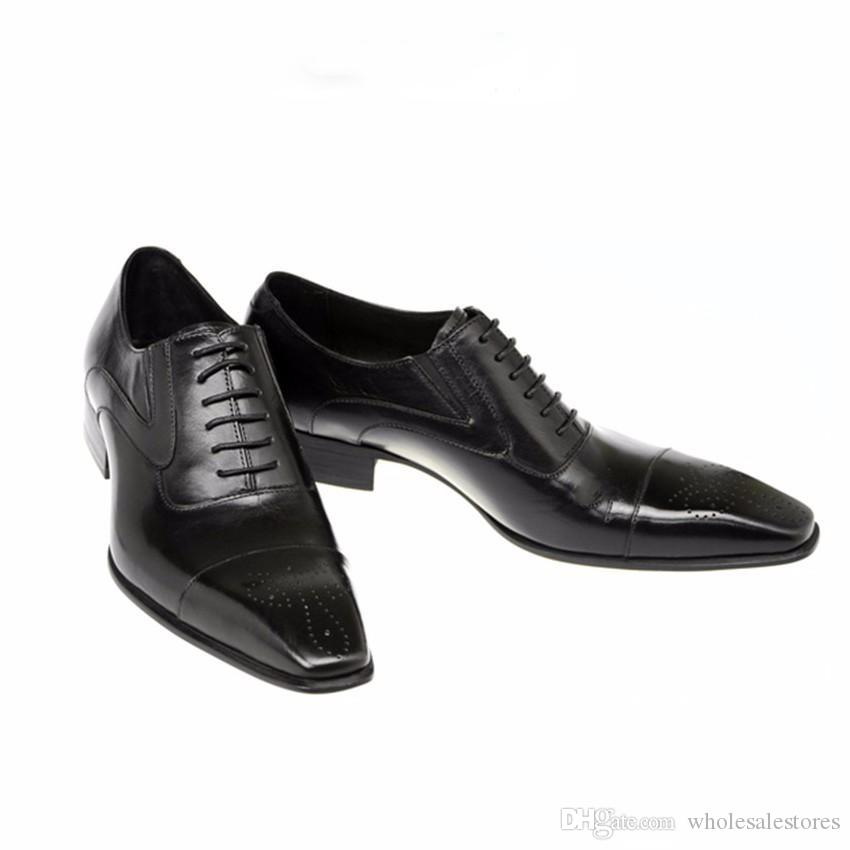 Fashion Italian Men Shoes Genuine Leather Mens Dress Shoes Sales Carved Designer Wedding Male Oxford Shoes Men Flats