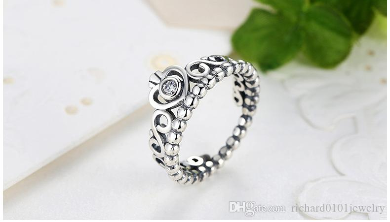 100% S925 Sterling Silver Princes Crown Rings for Women Girls Valentine's Day Engagement Crown with Diamond Band Ring Fashion Fine Jewelry
