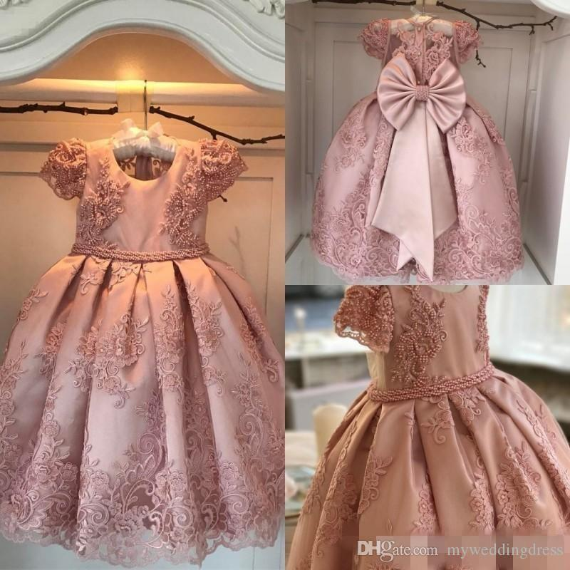 Toddler 2017 Cheap Peach Lace Flower Girl Dresses With Sleeves