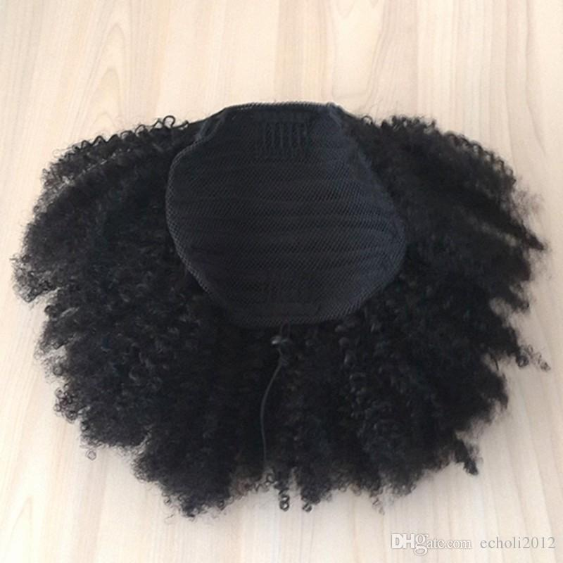 4B 4C Afro Kinky Curly Human Hair Ponytails Clip In 100% Human Hair Pieces And Ponytails Brazilian Remy Hair Natural Color