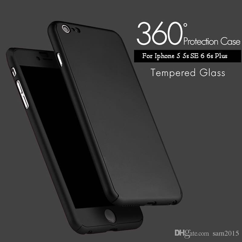 Ultra-thin 360 Degree Case Full Body Protection Hard PC Full Cover Body Case Cover with Tempered Glass For iPhone 7 Plus 6 6S 5 5S with pack