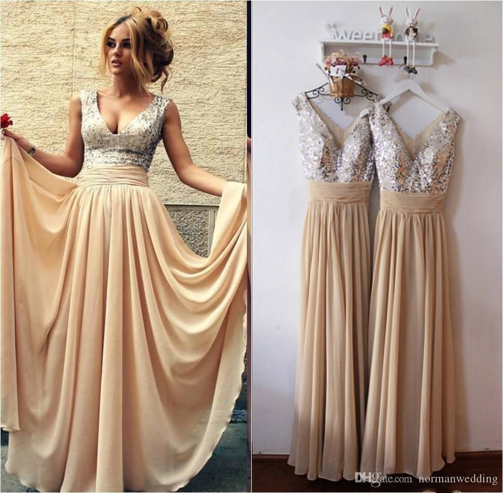 Champagne long bridesmaid dresses 2017 cheap v neck sequins champagne long bridesmaid dresses 2017 cheap v neck sequins chiffon sexy simple cheap maid of honor dress wedding guest dresses prom gowns cute bridesmaid ombrellifo Gallery