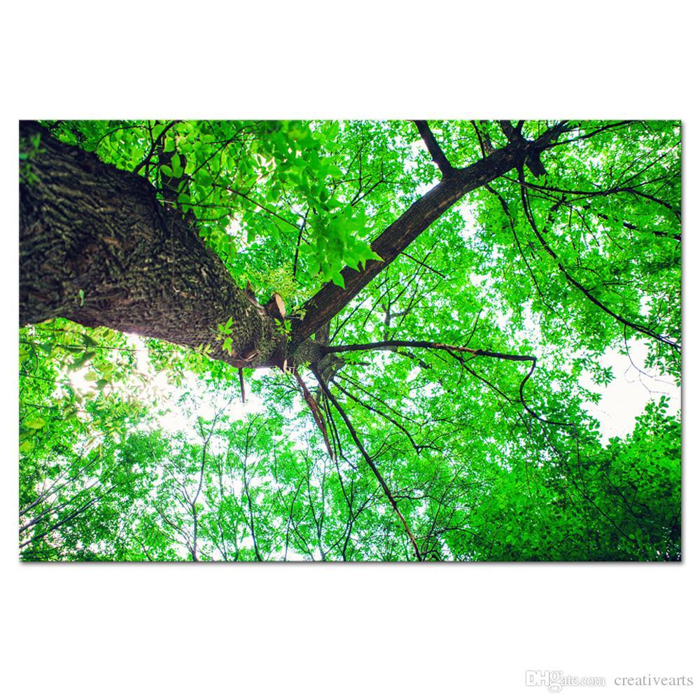 Satın Al 1 Parça Hd Orman Yeşil Ağaç Tuval Boyama Doğa Manzara