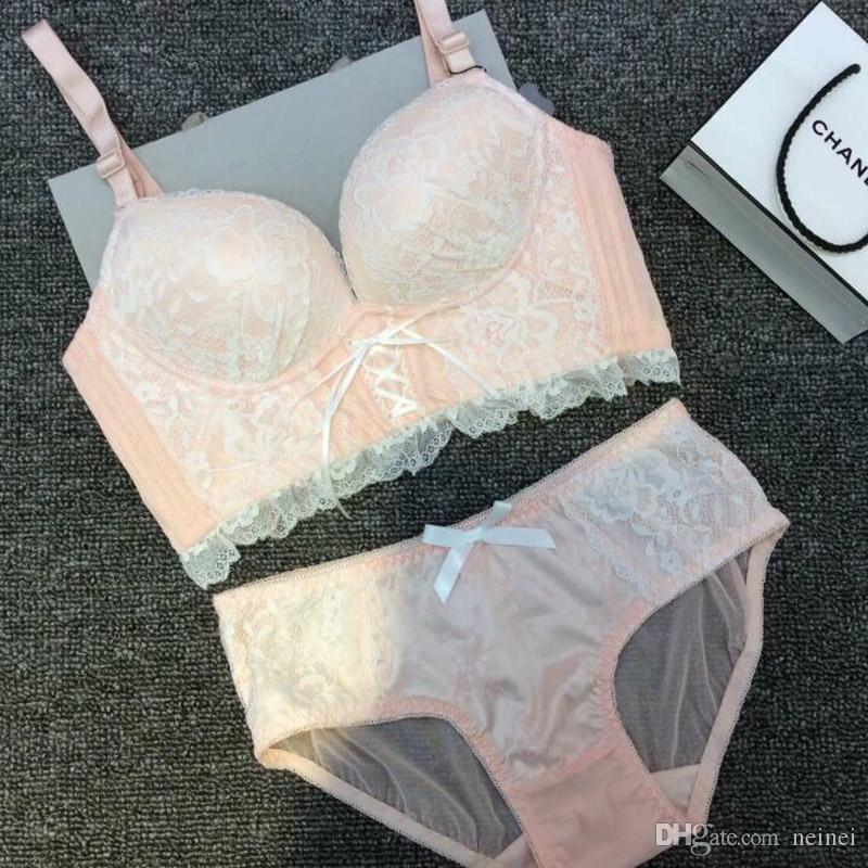 2019 Lady New Sexy Lace Bra And Panty Sets Push Up Comfortable Wireless  Young Girls Bra Set Fresh Women Underwear Cute Belt Lingerie From Neinei 27a98ce63