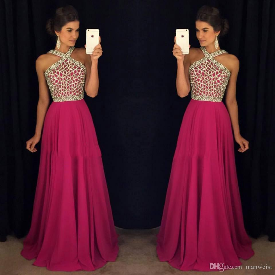 b8b92fad21f Sexy Fuchsia Crystal Prom Dresses Beads A Line Cheap Chiffon Evening Gowns  Plus Size Formal Party Dress Stores That Sell Prom Dresses Tea Length Prom  ...
