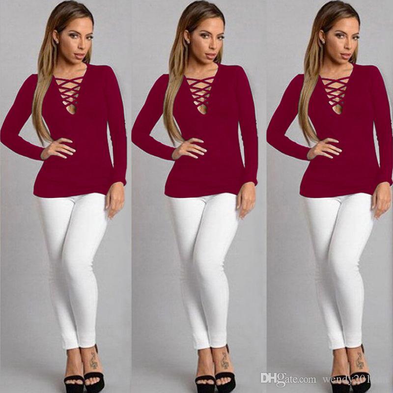 2016 Art und Weisefrauen Geschlecht nehmen V-Ansatz lange Hülse T-Shirt Top schwarz khaki Wein rot Farbe Größe S-2XL Frauen Kleidung Herbst und Winter zu binden