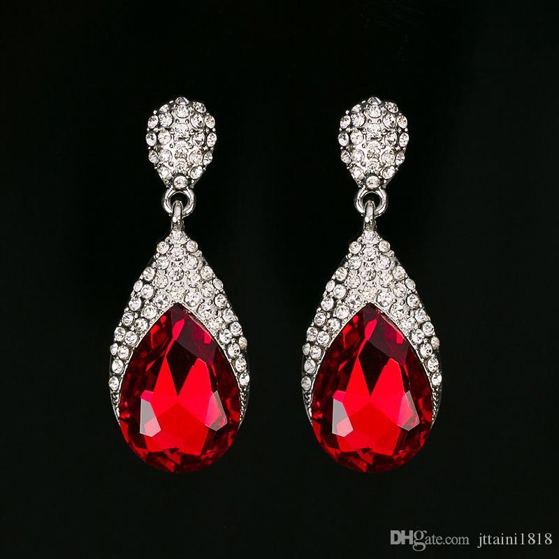 Yeni moda uzun kristal damla küpe kadınlar için 3 renk vintage gümüş kaplama gelin Küpe düğün Takı aksesuarları # E306