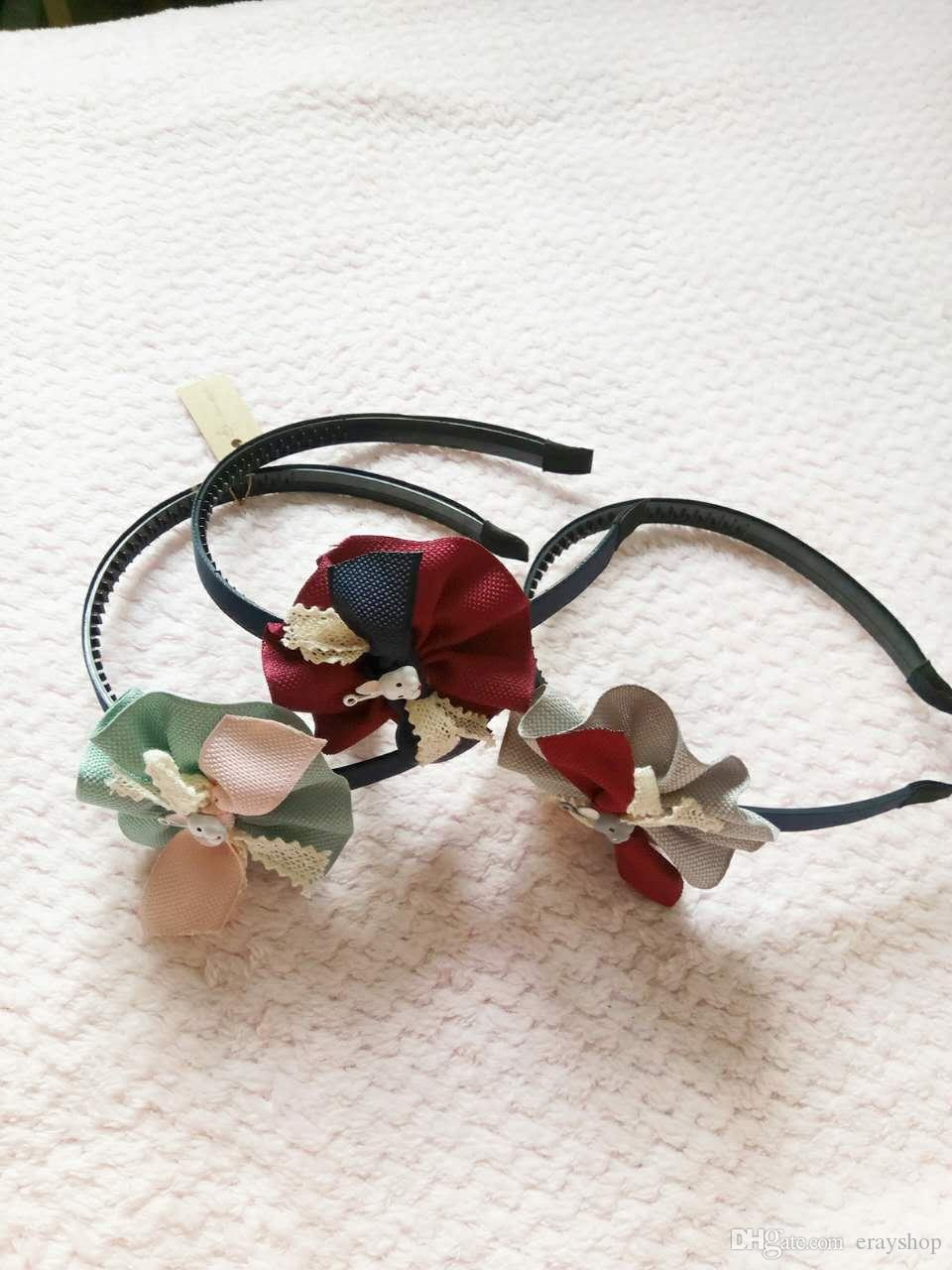 Flowers hair sticks for kids Contrast color sunflower rabbit hair hoop hair band three colors