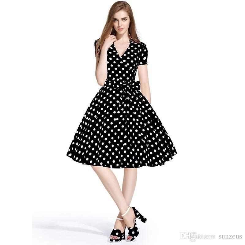 V Neck Short Sleeve Knee Length Women\'S Casual Dresses Polka Dot ...