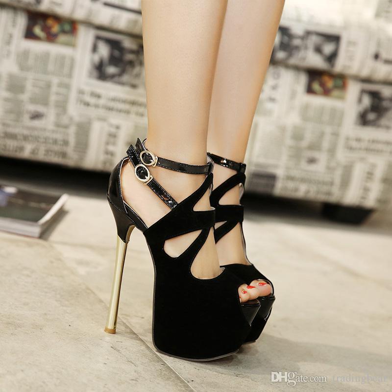 Super saltos altos sapatos de casamento Gladiator Sandal Super High Heel oco Out Red Preto Ankle Bootie