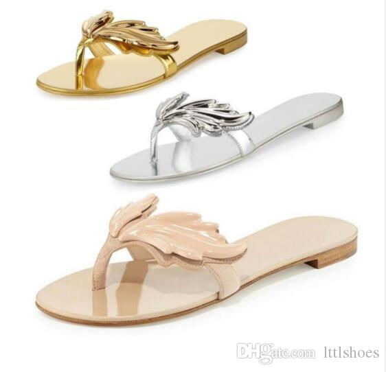 822eff508e33 2017 Summer New Fashion Design Slipper Sandals Women Leaves Slides Flip  Flops Flats With Wing Women Gladiator Thong Sandals Shoes For Women Cheap  Shoes From ...