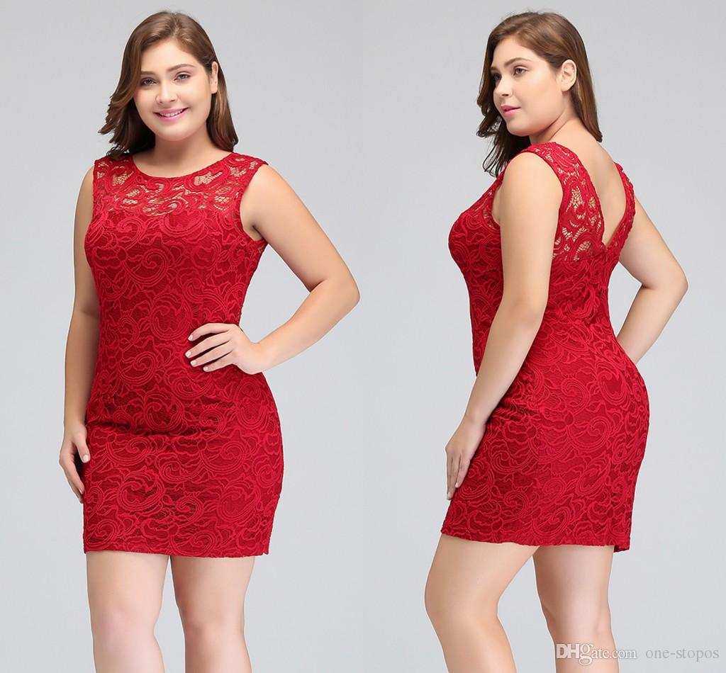 2018 Short Red Lace Plus Size Cocktail Party Dresses Sheath Jewel ...