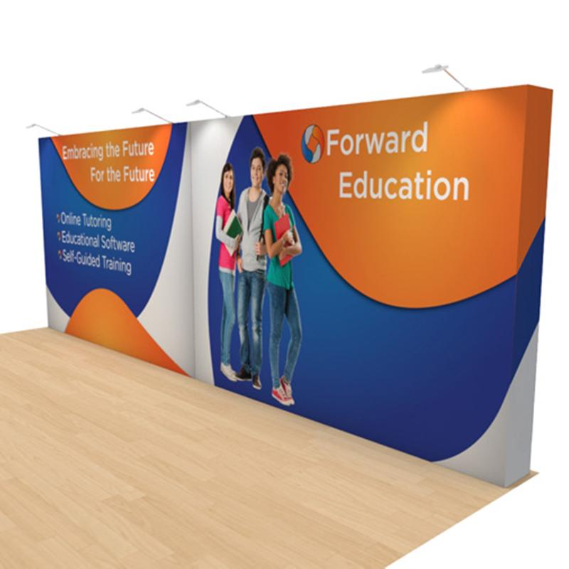20ft Straight Popup Banner Stand for Trade Show Tension Fabric Covered Graphic Oxford Bag Packed New E02F