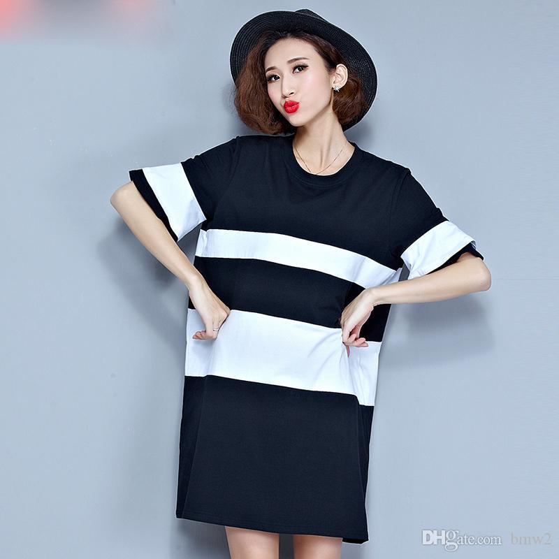 Plus Size Summer Style T Shirt Women Black White Striped Print ...