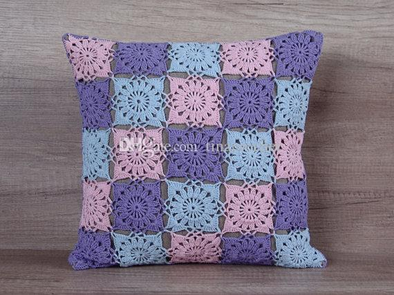 Granny Square Handmade Crochet Cushion Cover Pillow Case Home Sofa Enchanting How To Crochet A Pillow Cover