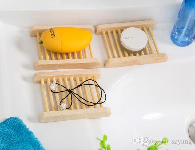 Natural Bamboo Wooden Soap Dish Wooden Soap Tray Holder Storage Soap Rack Plate Box Container for Bath Shower Bathroom