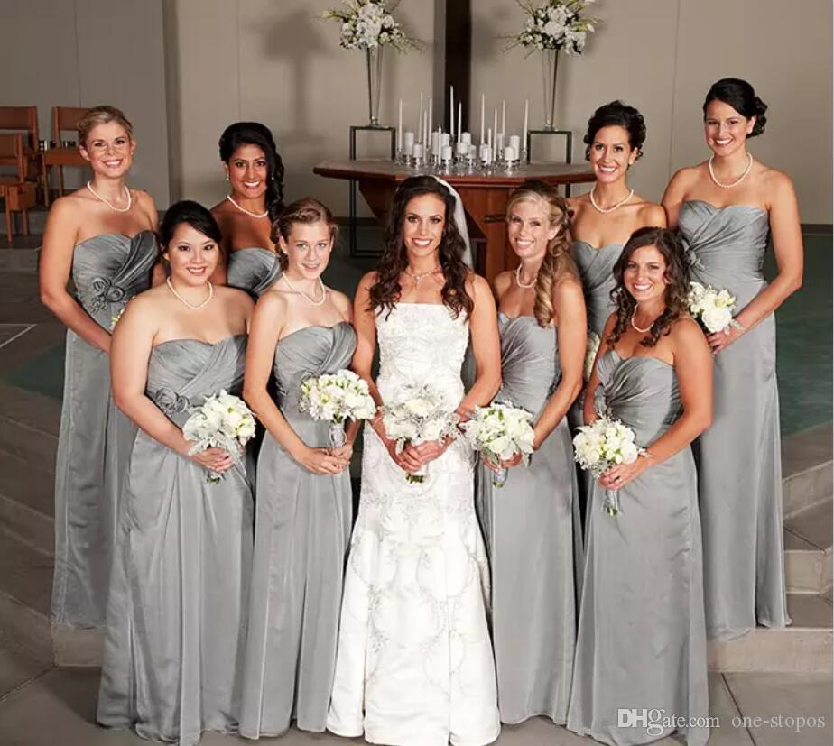 Long Light Gray Country Bridesmaid Dresses Ruched Sweetheart Formal Maid of Honor Gowns with Handmade Flowers Custom Made Floor Length Dress
