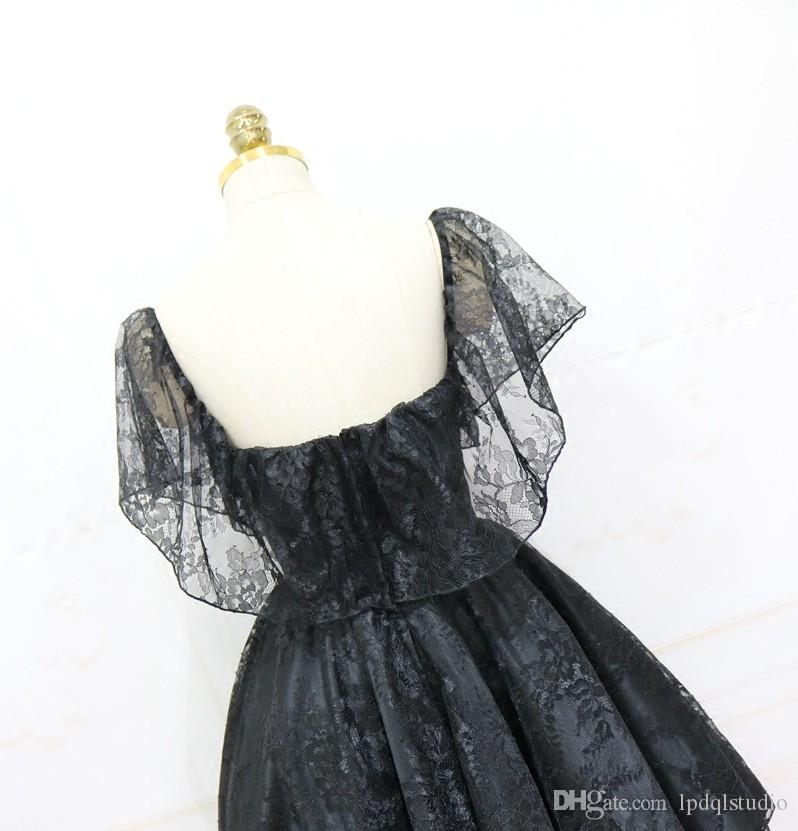 Sexy Black Lace Ball Gown Prom Dresses Knee Length Party Dress Sexy Summer Zipper Back Bridesmaid Gowns Guest wear Cheap
