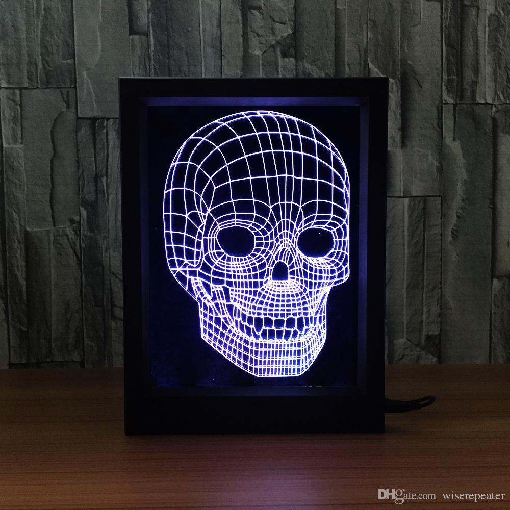Grosshandel 3d Skull Led Bilderrahmen Dekoration Lampe Ir