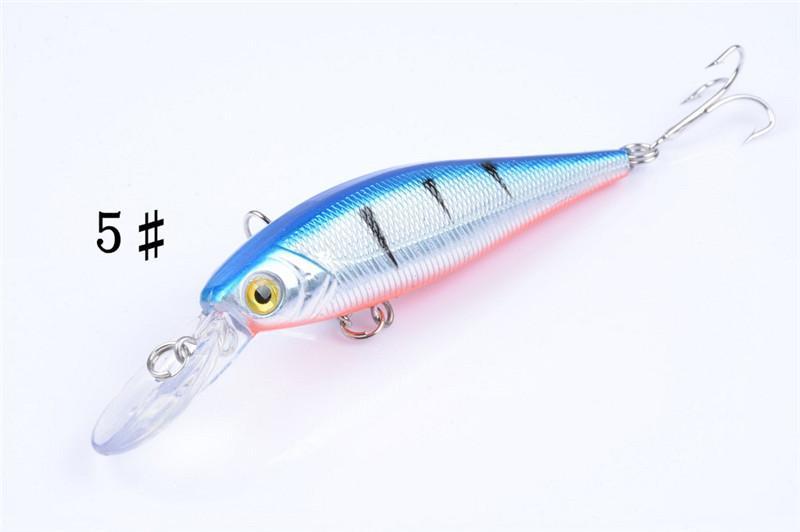 Nouveau PS Peint Laser Minnow appâts de pêche 10 cm 9.6g D'eau douce Pêche peu profonde Bionic Wobbler artificielle leurre Crochets