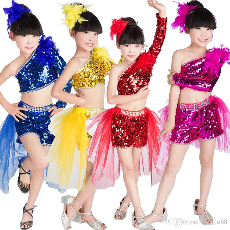 e6c86cc08 Girls Sequined Ballroom Modern Jazz Hip Hop Dance Costumes Kids Competition  Dancing Tops+Pants Chidlren'S Stage DS Show Outfits Canada 2019 From  Gingle88, ...