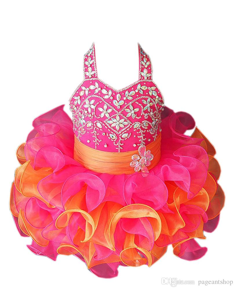 Gorgeous Hot Sale Baby Girls Halter Pageant Tutu Dress Toddler Girls Ruffles Crystal Short Mini Ball Gowns Infant Formal Wear Fashion Gowns