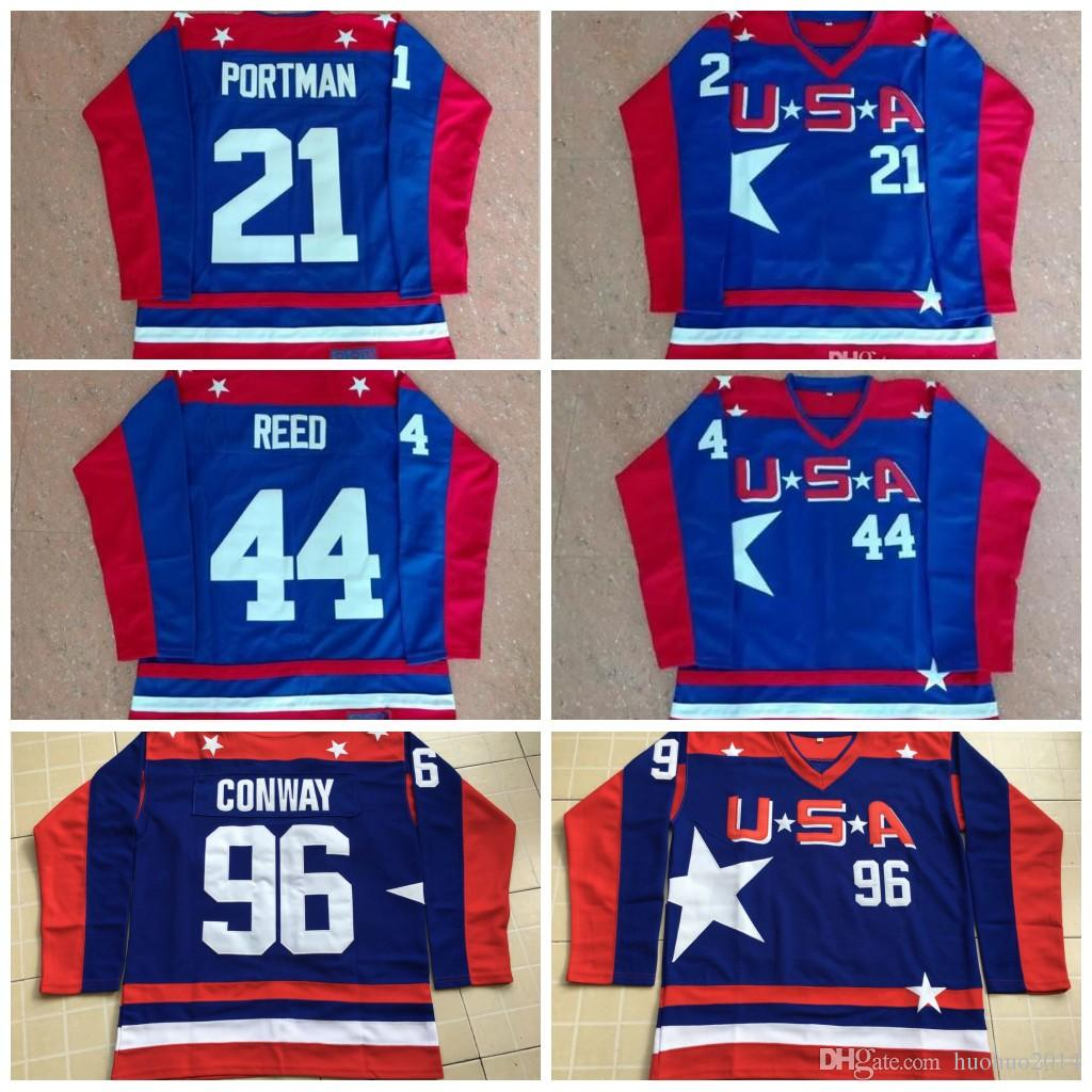 f4f9ce392 2019 Mighty Ducks D2 Movie Team USA Hockey Jersey 96 Charlie Conway 99 Adam  Banks 21 Dean Portman 44 Reed 33 Goldberg Hockey Jerseys From Huohuo2014