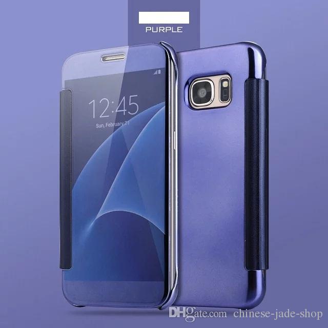 Spiegel klar SMART View Flip Case galvanisieren überzogene Wallet Leder Abdeckung für Samsung Galaxy S5 S6 EDGE EDGE S6 EDGE PLUS S7 S7 EDGE