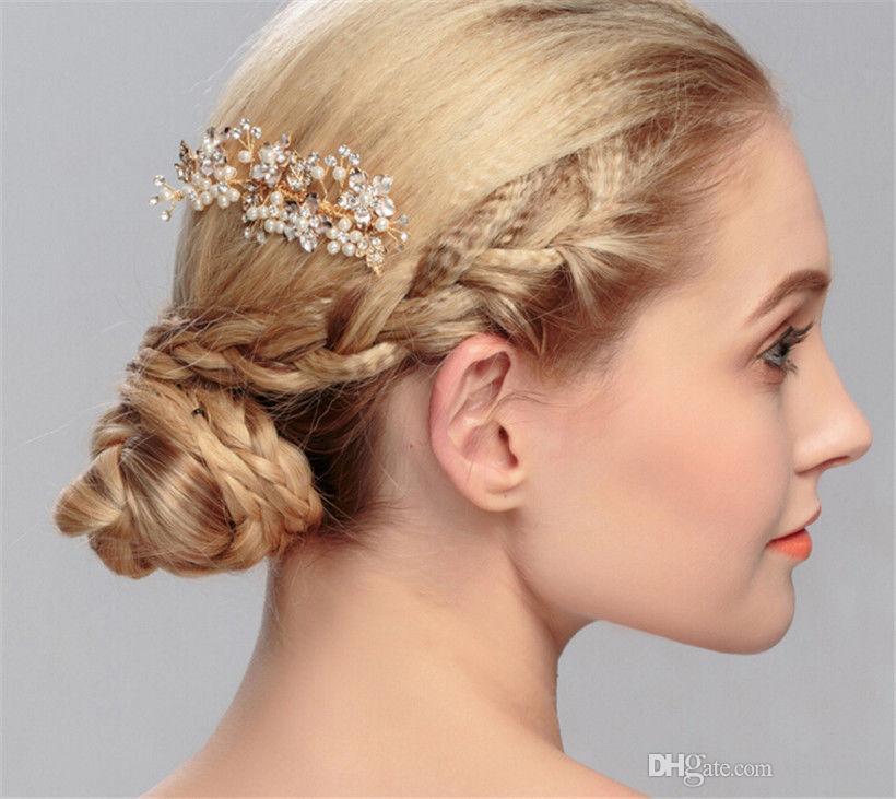 Grosshandel Vintage Kristall Haar Kamm Strass Kopfschmuck Hochzeit