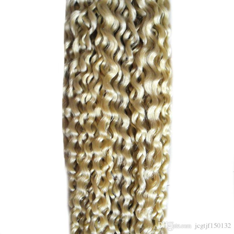 # 613 Bleach Loira Brasileira virgem Cabelo extensões de cabelo fita dupla desenhada 100g loira brasileira onda profunda encaracolado cabelo virgem