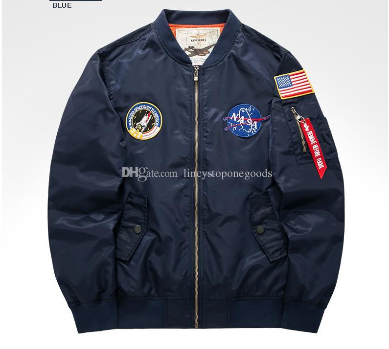 NASA Mens MA1 Bombacı Ceket Insignia USAF Kanye West Hip Hop Spor Erkek Rüzgarlık Ceket Bayrak Erkekler Bahar Ince kesit Palto Artı boyutu 6XL