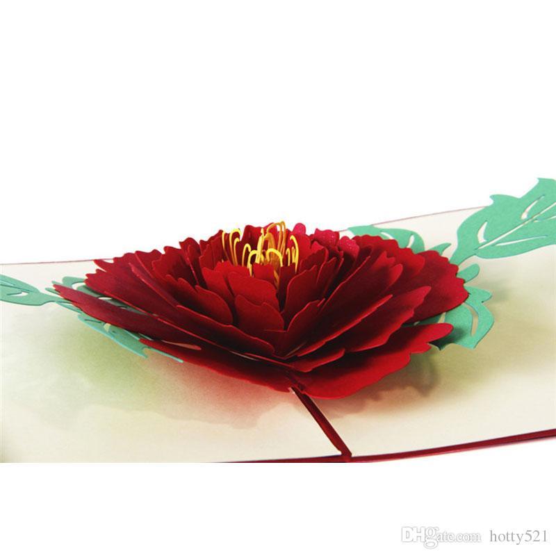 3D Pop up Pfingstrose Blumen Handmade Grußkarten Postkarten Geburtstag Mutter Tag Geschenk Nachricht Karte Einladungen Karte Kunst Papier Handwerk Geschenke