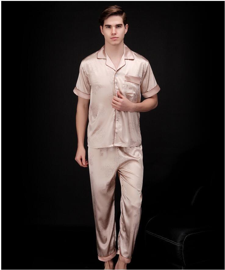 Men s Pajama Set 2017 Summer Brand Design Luxury Men Leisure Pajamas ... 5783923ab