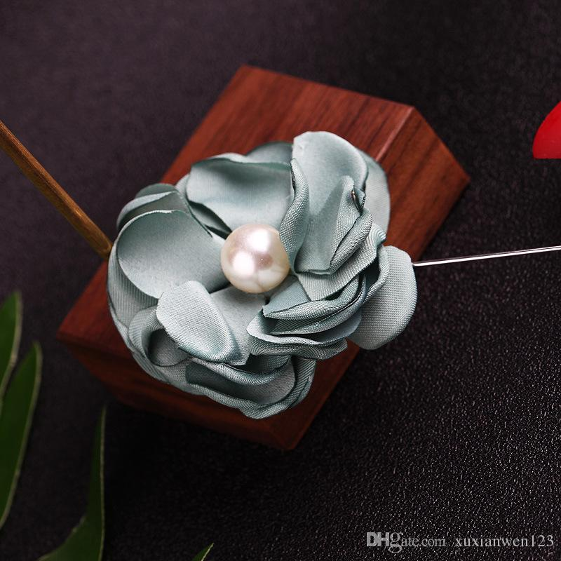Large fabric flowers Brooches for men handmade crystal brooch pins badge pearl brooches with men wedding jewelry
