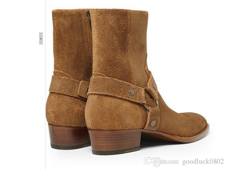 Man Fashion Slp Klassische Wyatt 40 Harness Stiefel in Schwarz Leder Martin Stiefel Cowboy Stiefel