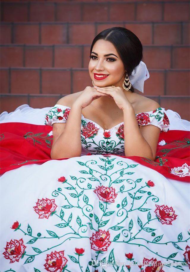 2017 nuevo blanco y rojo de la vendimia vestidos de quinceañera con cuentas de bordado dulce 16 Prom desfile vestido de fiesta del partido vestido QC 450