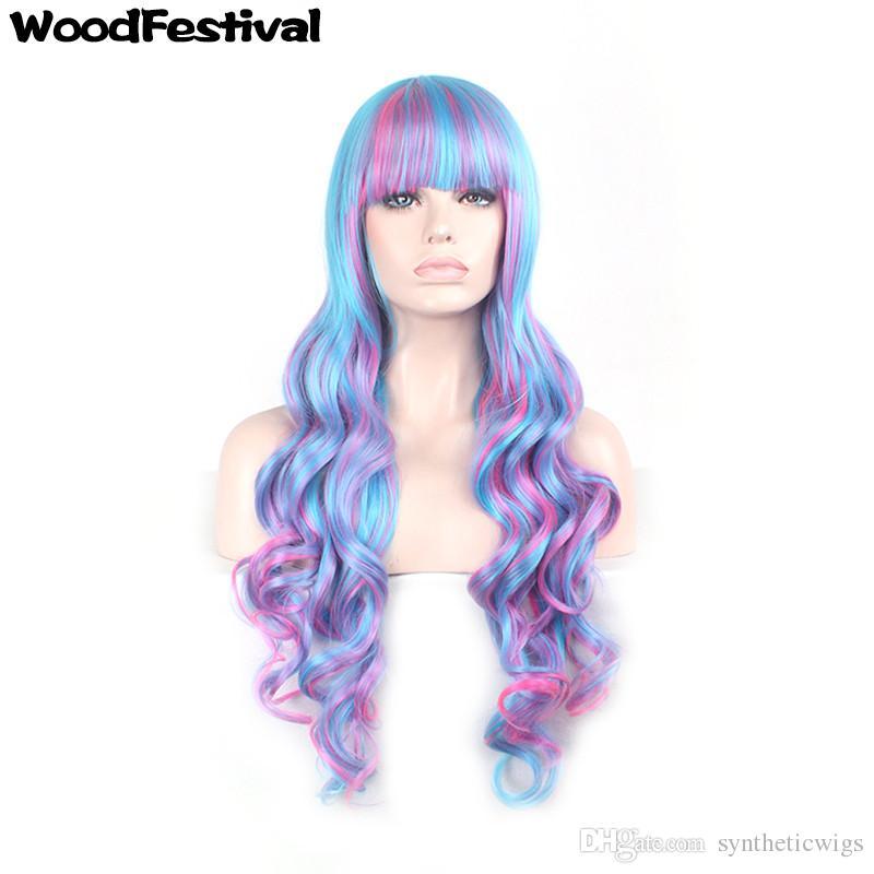 Compre WoodFestival 80 Cm Peluca Rizada Larga Ombre Pelucas De Pelo De  Fibra Sintética Azul Rosa Color De La Mezcla Lolita Peluca Cosplay Mujeres  Pelucas ... d08d2cbccfeb