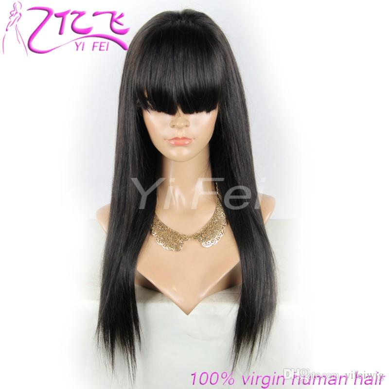 Silk Straight Lace Front Human Hair Wigs With Bangs Brazilian Remy Full Lace Wig For Black Women Pre Plucked Bleacehd Knots