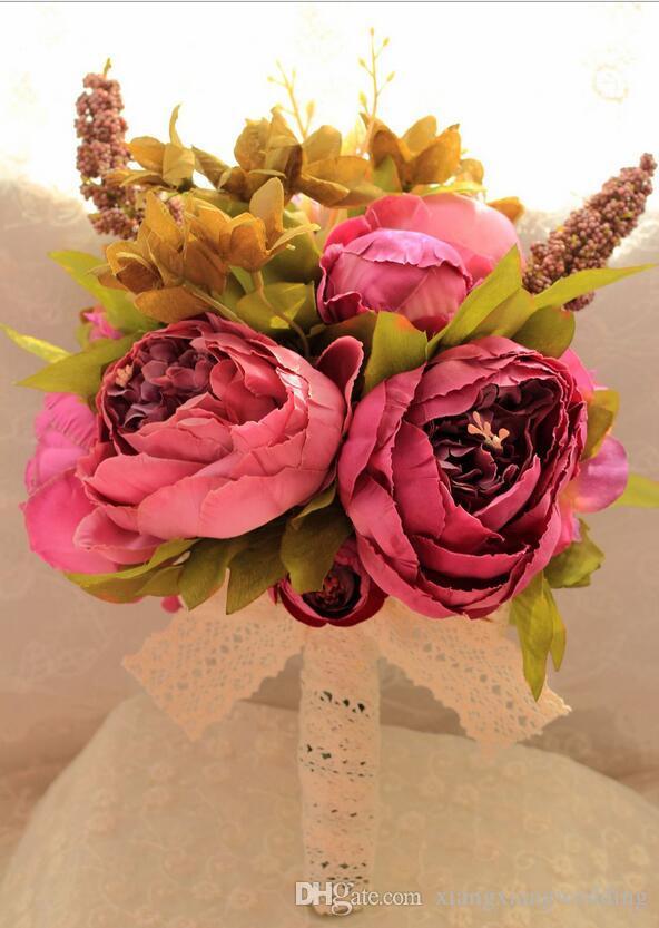 Artificial Wedding Bouquet De Noiva Sweet Romantic Rose Flower Beautiful Lace Wedding Bouquet High-end Silk Cloth Imitation Fower
