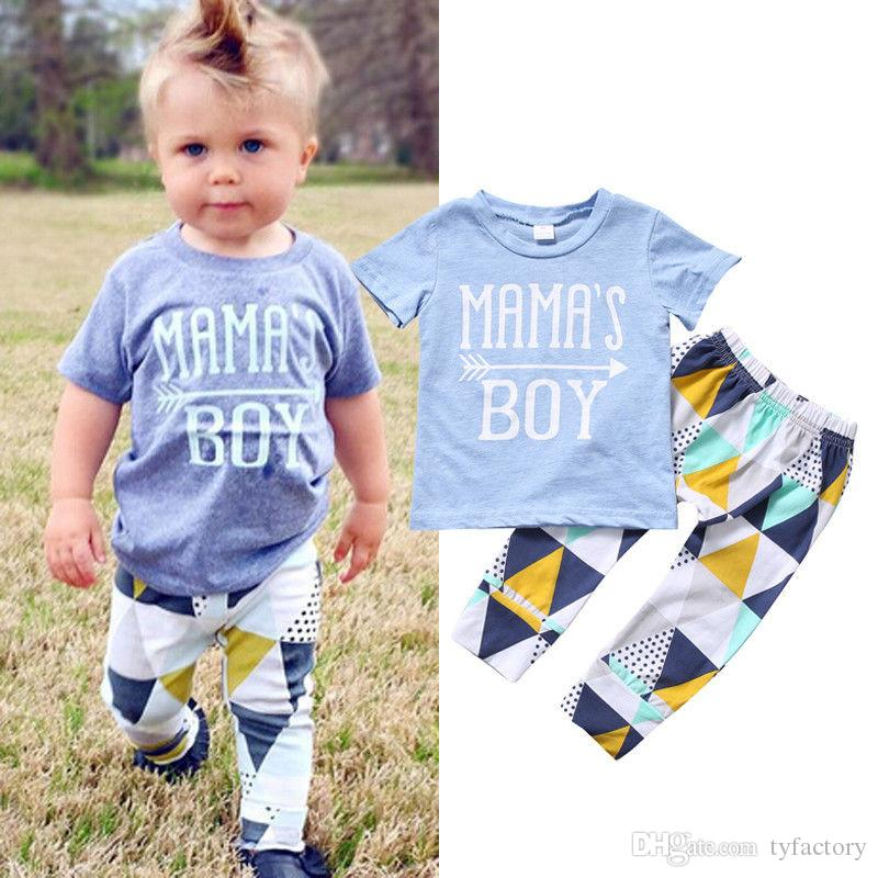 ed6dc7d4dd08 2019 2017 Summer Newborn Baby Boys Tops Letter T Shirt+ Long Pants ...
