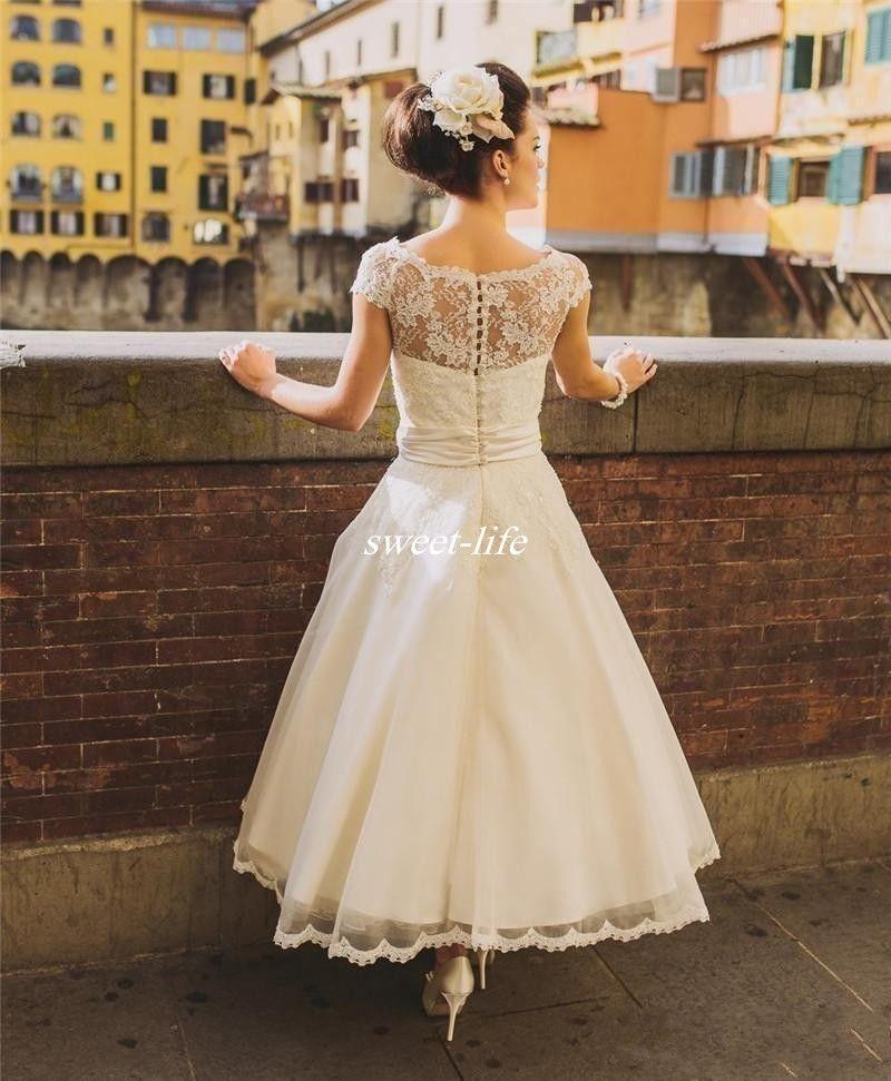 50er Jahre Retro Vintage Brautkleider 2020 Flügelärmel Spitze Perlen Knöpfe kurze knöchellange Schärpe Organza Brautkleid